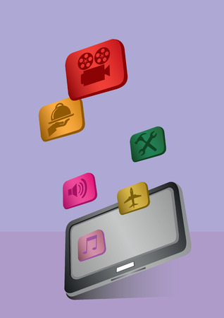 tablet computer: Vector illustration of application software icons and logos flying out of the touch screen of a digital tablet computer.
