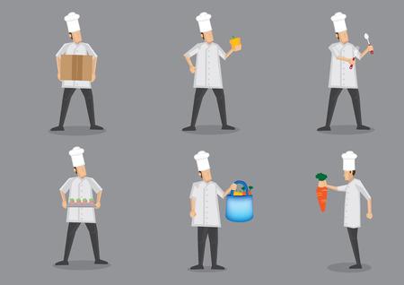 double breasted: Chef en uniforme blanco y el toque prepar�ndose para la preparaci�n de alimentos. Colecci�n de dibujos animados ilustraci�n vectorial car�cter aislado en fondo gris liso