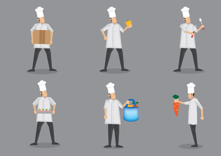 Chef wearing white uniform and toque getting ready for food preparation. Collection of vector cartoon character illustration isolated on plain grey background Illustration
