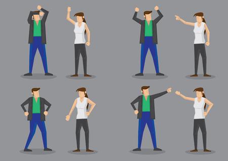 Conjunto de ilustración vectorial de cuatro de dibujos animados de pareja frustrada en discusión con el lenguaje corporal agresivo. Personajes aislados sobre fondo gris claro. Ilustración de vector
