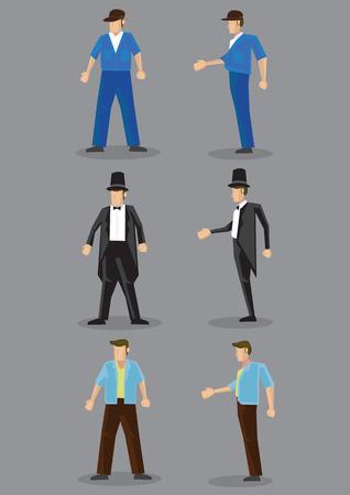 Männer in verschiedenen Mode-Stil Kleidung in Frontal- und Profilansicht. Vektor-Zeichentrickfigur isoliert auf schlichten grauen Hintergrund.