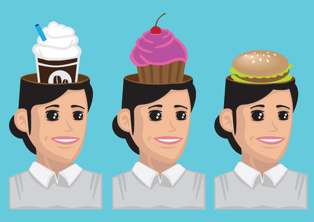 cupcakes isolated: Vector cartoon illustration of modern woman thinking about coffee, cupcakes and fast food in her head isolated on blue background Illustration