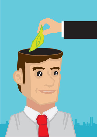 sponsorship: Vector cartoon illustration showing a hand putting money into the head of a business executive. Concept for business investment in knowledge and human resource.