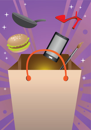 consumer products: Merchandise and consumer products flying into shopping bag on vibrant sunburst background. Vector illustration for concept on shopping experience and retail sale event.