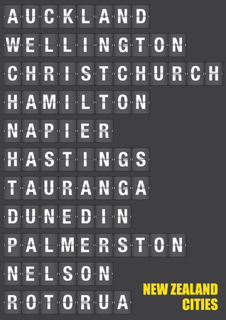hamilton: Names of New Zealand cities on old fashion split-flap display like travel destinations in airport flight information display system and railway stations timetable. Vector illustration.