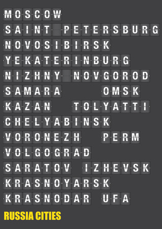 Names of Russian cities on old fashion split-flap display like travel destinations in airport flight information display system and railway stations timetable. Vector illustration. Illustration