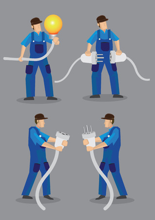 oversize: Funny cartoon electricians wearing blue overall work clothes and holding oversized light bulb, electrical male plugs and female jacks. Vector illustration isolated on plain grey background.