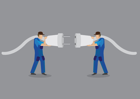 handyman: Two funny cartoon electricians trying to connect huge electrical male plugs and female jacks. Vector illustration isolated on plain grey background.