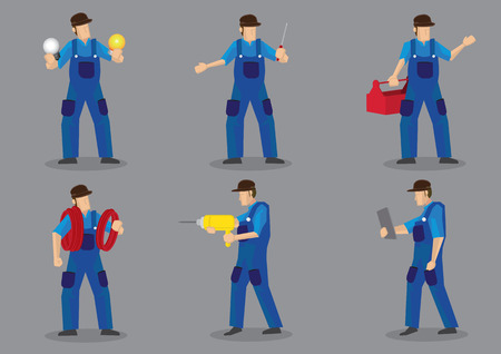 Blue collar worker vector cartoon character icons, can be technical, electrician or mechanic, with various work tools and equipment. Illustration