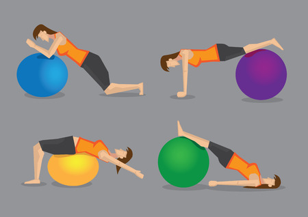swiss roll: Set of four vector illustration of woman using colorful gym ball for fitness exercises isolated on plain grey background