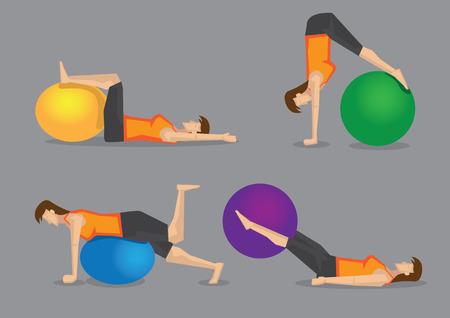 fortalecimiento: Conjunto de cuatro ilustraci�n vectorial de la mujer que usa la bola colorida gimnasio para ejercicios b�sicos fortalecimiento aislados sobre fondo gris liso