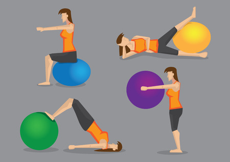 programs: Set of four vector illustration of woman using colorful gym ball for workout programs isolated on plain grey background Illustration