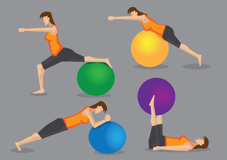 strengthening: Slim sporty woman character using colorful gym ball for exercise routine in fitness program. Set of four vector illustration isolated on grey background