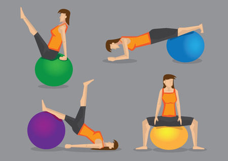 strengthening: Sporty modern woman using gym ball for workout in exercise program. Set of four vector characters isolated on grey background.