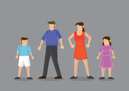 man full body: Cartoon man, woman, boy and girl standing together. Simple vector character illustration for nuclear family concept isolated on grey background