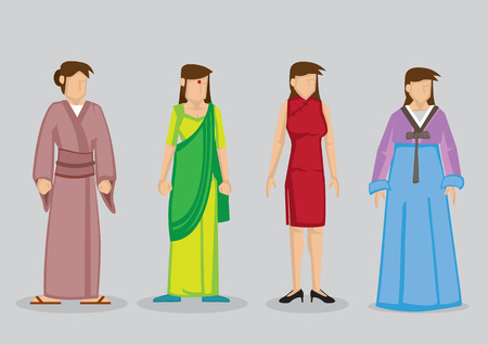 body wrap: Woman wearing traditional Asian costumes, Japanese Kimono, Indian Sari, Chinese cheongsam and Korean Hanbok. Vector cartoon illustration isolated on grey background.