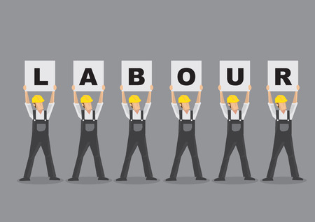 fullbody: Cartoon characters as workers wearing overall and yellow helmet and holding up placards that spelled Labour. Vector illustration isolated on grey background. Illustration