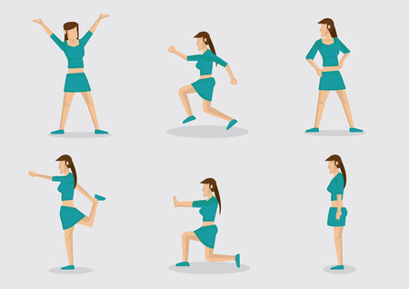 miniskirt: Set of six vector illustrations of an slim young woman in sexy crop top sports attire works out with simple exercises routine for fitness program. Cartoon characters isolated on grey background.