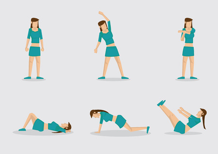 warm up: Set of six vector illustrations of sporty woman doing basic basic warm up exercises. Cartoon characters isolated on plain background.