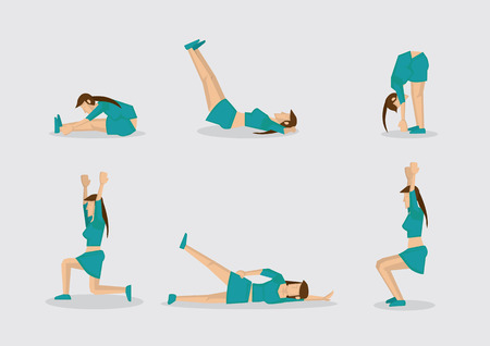 warm up: Set of six vector illustrations of sporty woman doing simple exercises for work out routine. Cartoon characters isolated on plain background.