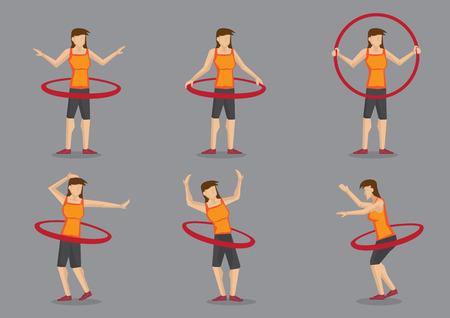 deportes caricatura: Conjunto de seis ilustraci�n vectorial de una joven activa ejercicio por girar hula hoop sobre fondo gris. Vectores