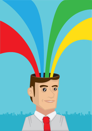 white collar: Happy white collar worker with multicolor rainbow rays coming out of cartoon head. Vector cartoon illustration Illustration