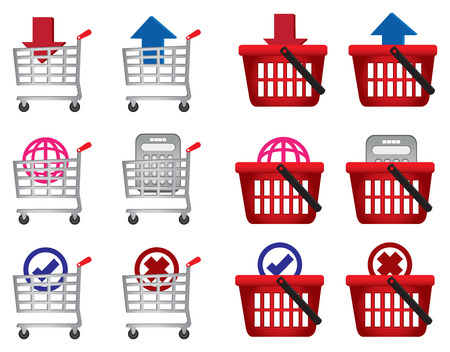 b2c: Set of shopping cart and basket with web symbols. Conceptual vector icons for e-commerce isolated on white background.