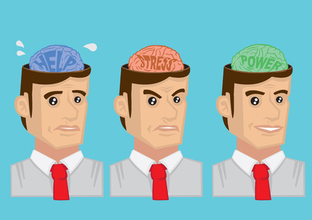 neuroscience: Cartoon vector illustration showing mental states and emotions of adult man. Concept for mental health.