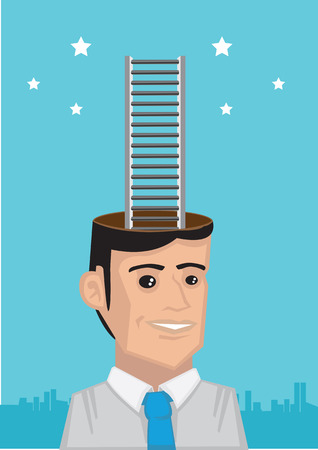 corporate ladder: White collar executive thinking about going up the corporate ladder to reach the stars. Creative vector illustration for business concept.