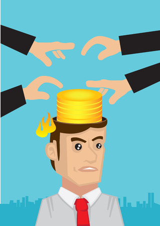 Businessman angry with hands stealing money from his head. Creative concept vector cartoon illustration for intellectual property infringement. Ilustração