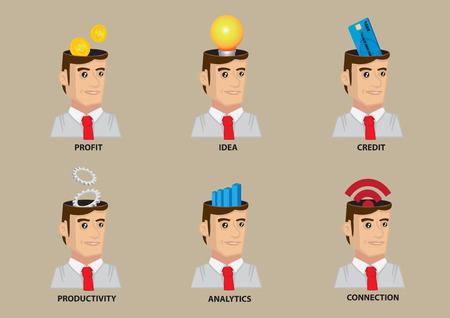 head collar: Man wearing white collar shirt and necktie with conceptual symbols in head. Set of six vector character icons isolated on plain background.