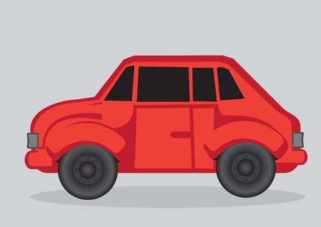 shiny car: Side view of a shiny red car. Cartoon vector illustration isolated on grey background. Illustration