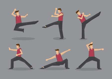 moves: Set of six vector cartoon character demonstrating Chinese style martial arts moves isolated on plain grey background. Illustration