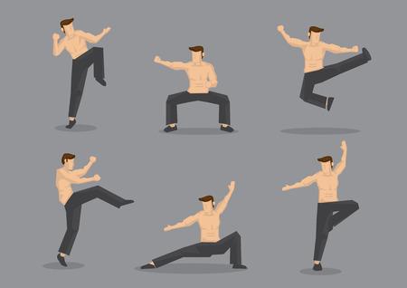 seins nus: Ensemble de personnage de dessin anim� de six vecteur de l'homme muscl� topless dans diverses poses d'arts martiaux de style chinois, �galement connu sous le kungfu, isol� sur fond gris clair.