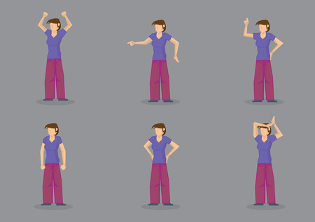 Set of six vector illustration of an emotional lady character wearing casual shirt and pants in different gestures  conveying frustration and anger isolated on grey background. Illustration