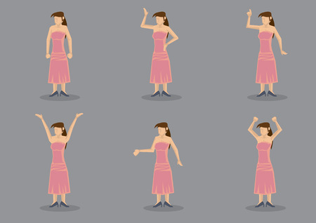 strapless: Set of six vector illustration of a young lady wearing long pink strapless dress and black heels posing in different gestures isolated on grey background.