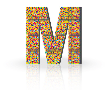 alphabet letters: Colorful 3D Alphabet Letter M with reflection on white glossy surface