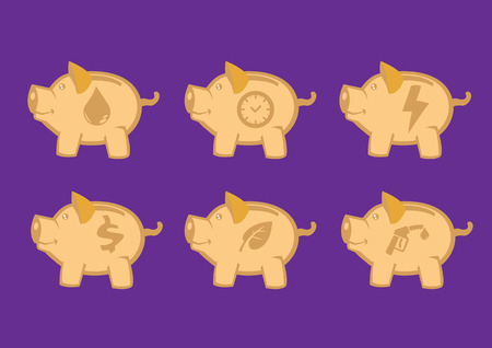 snort: Set of six illustration of piggy banks in side view with conceptual symbols. Vector design elements for savings and conservation concepts isolated on purple background.