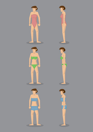 leotard: Front and profile side view of young slim female character in swimming costumes of different styles. Vector illustration isolated on grey background.