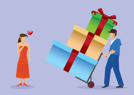 Deliveryman using trolley to deliver presents in big gift boxes to beautiful woman in sexy red strapless dress and matching shoes. Vector illustration isolated on plain purple background. Illustration