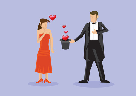 tall hat: Cartoon character of lady in strapless red long dress standing in front of a magician in tuxedo holding a tall hat with hearts coming out of it. Vector illustration for proposal surprise isolated on plain purple background.