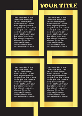 page layout: Golden yellow ribbon framing white text isolated on black. Vector abstract background for page layout design template.