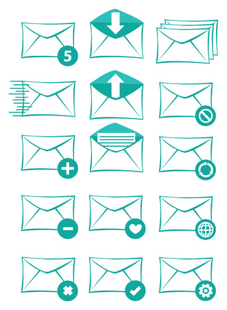 unread: Collection of web icons designs with envelopes and conceptual symbols for email and electronic text messaging software applications. Vector icon set in green isolated on white background. Illustration
