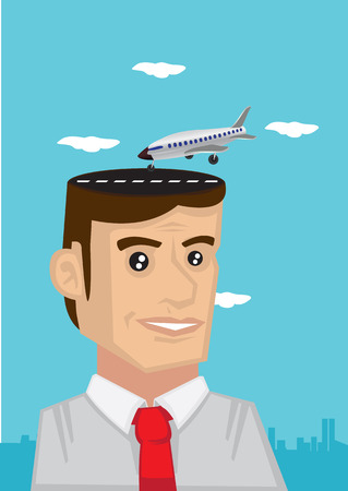 hopeful: Worker with airplane landing on his head, dreaming of holiday vacation. Conceptual vector illustration. Illustration