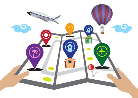 threefold: Hands holding three-fold map with 3D markers icons for travel and tourism. Vector illustration isolated on white background.