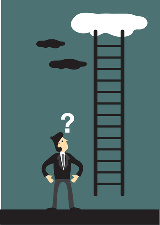 hesitation: Cartoon vector illustration looking at a ladder going up the cloud with a question mark above his head. Business concept and metaphor for corporate ladder.