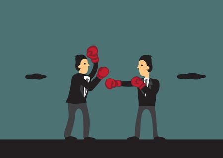 rivalry: Two cartoon businessman wearing suit and boxing gloves engaged in a boxing match in outdoor setting. Vector illustration for metaphor, competitive business rivalry fighting for business.