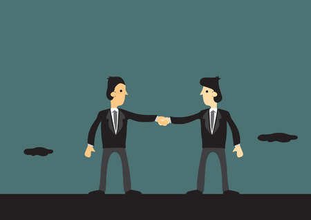 coalition: Two cartoon man wearing business suits joined in hands. Concept vector illustration for business team and teamwork.