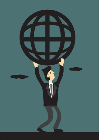 businessman carrying a globe: Cartoon businessman carrying a simplified wire mesh like globe symbol representing global network.
