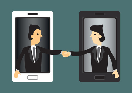 teleconference: Cartoon businessmen extending hands out of handphone screen for handshake. Concept vector illustration for using new technology in business world.